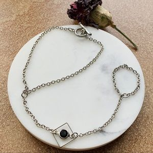 Jewelry - Silver and Black Hand Bracelet
